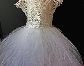 Ivory Lace Flower Girl Dress Cap Sleeve