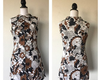 Afternoon at Woodstock 1960s Floral Romper with Skirt Trim