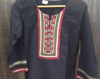 Vintage Ethnic black tunic. Size small