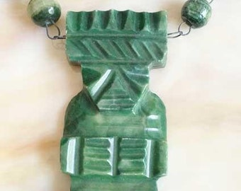 Tribal 'Mexican' Aztec, Mayan Green Figure Necklace