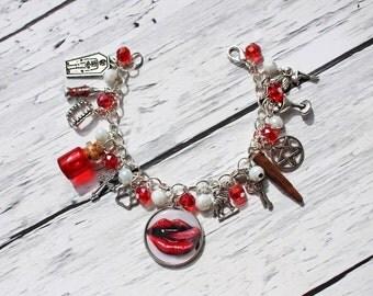 True Blood Lips Inspired Charm Bracelet