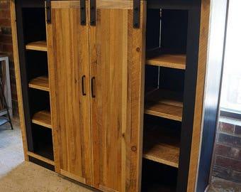 Barnwood Sliding Door Media Credenza Console Bookcase