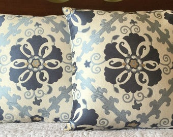 Blue Ikat Pillow Cover, 16x16, Pillow Cover