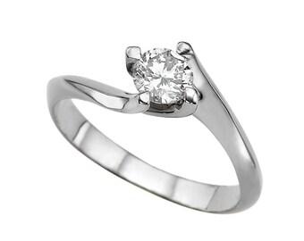 White Sapphire Engagement Ring 14K Rose Gold 0.50 CT Twist 4 prongs Solitaire Ring, Gem Ring Diamond Alternative