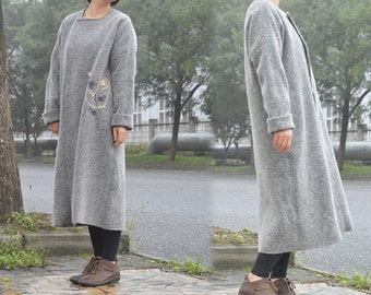 517---Knit Wool Coat, Gray Coat with Hand Embroidery, Made to Order.