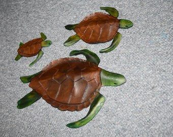 Leather Sea turtle wall hanging - all sizes listed currently available