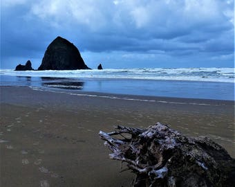 Haystack Rock - Driftwood 8x10 Nature Photography Digital Print - Oregon Coast, Cannon Beach - Exploring Outdoors
