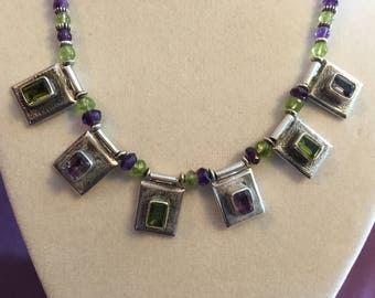 Sterling Silver Amethyst and Peridot Necklace Statement Piece