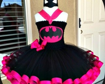 Batgirl  Tutu Dress (Crochet top,Ribbon Trim)