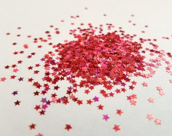 solvent-resistant glitter shapes-red hologram extra-small stars