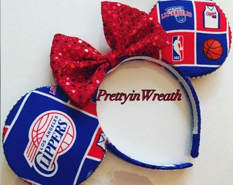 LA Clippers inspired Mickey Mouse ears headband