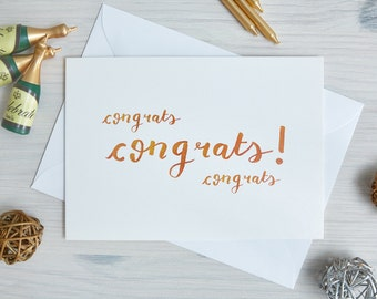 Congratulations Card - 'Congrats' | Well Done, Graduation | Handwritten, Calligraphy, Brush Lettering