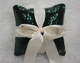 Hunter Green Glitz Sequins Ring Bearer 8 x 8 pillow. Wedding pillow