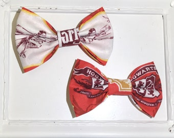 Harry Potter Fabric - Hogwarts, Clip on Bow, Bow Tie