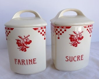 Vintage French Cottage Style Cannisters. Red and White French Kitchen Cannisters