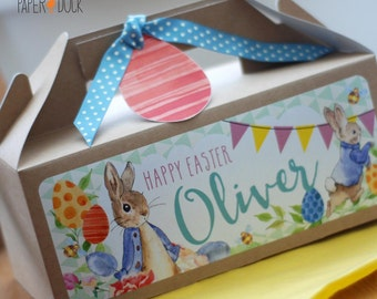 Personalised Children's Kraft PETER RABBIT Easter Egg Or Birthday Party Gift Box Activity Stationary