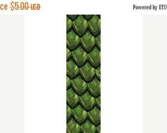 SALE HALF PRICE off Instant Download Beading Pattern Peyote Stitch Bracelet Dragonscale Green Seed Bead Cuff
