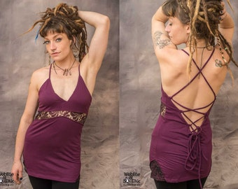 WOMENS TOP DRESS Strappy Corset Back Lace Pixie Hippy Psytrance Festival Party