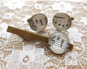 Handcrafted Sheet Music Cufflinks and/or tie clip- Great Birthday, Fathers Day or Christmas gift for a musician