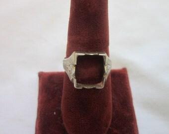 Ring Old Art Deco 10 K Solid White Gold Men's Ring Setting