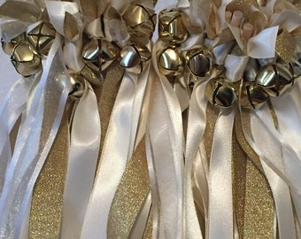 50 Wedding Wands/Wedding Ribbon Wands/Wedding Wand/Wedding Streamers/Ivory, Gold Metallic and Ivory Sheer
