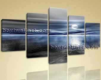 Large Seascape Picture Contemporary Beach Wall Decor Pentaptych Panels Prints, Large Beach Wall Art, Dining Room,