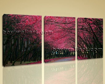Large Pink Cherry Blossom Trees Landscape Contemporary On Canvas Print Wall Art, Large Forest Wall Art, Living Room, Wood Bark