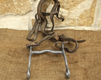 Vintage Aluminum Horse Bit With Weathered Head Stall