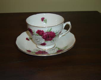 Royal Vale 7868 red white Carnations cup and saucer near mint condition