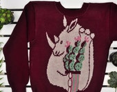"Made to order: M-size Wine red sweater with rhino and cactus ""Rhino's dream"""