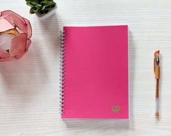 Dot grid spiral notebook, A5 dotted notebook, fuchsia and gold notebook with dot grid pages