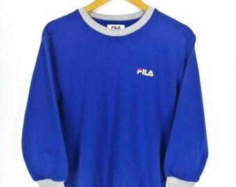 Vintage 90's FILA Sports Sweatshirts Pullover Girl Small Vintage FILA 1990's Sportswear Crewneck Blue Jumper Sweatshirt Size S
