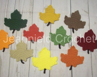 Hand Crocheted Maple Leaf Coasters / Decorations - Set of 10