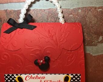 Minnie Mouse Invitations/Minnie Invitations/Minnie Purse Invitations Set of 12