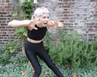 Black Satin Lycra Dance Leggings