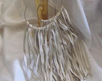 """Earrings Beautiful Off White Leather Suede Fringe Hoop Earrings 11"""" Long (#14A)"""