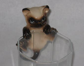 Vintage Siamese cat fishbowl hanger pot figurine cling
