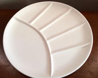 Mid Century White Mid Century Fondue Seperated Set of 8 Ceramic Plates