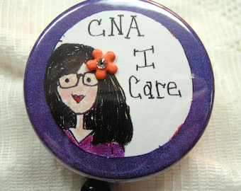 deep purple id badge clip for nurses aide,retractable id badge holder for CNA,Christmas or birthday gift for CNA,purple id clip