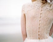 Tulle wedding gown, champagne wedding dress, high neck lace embroidered gown, Victorian style dress // Peitho