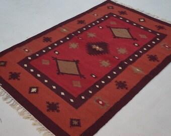 Oriental India Kilim Rug 4'x6' Woolen Kilim Dhurrie Rug  GORGEOUS NEVER USED