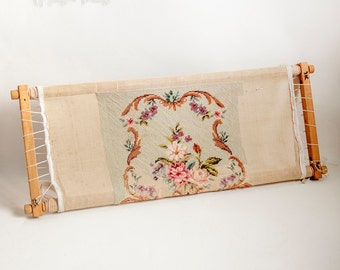 Vintage Reusable Tapestry Embroidery Frame Part Made Floral Tapestry