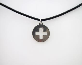 Sterling Silver Sumbissive Female Ownership Icon Pendant on Leather Cord - Sized to Order