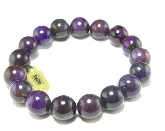 """A+ Grade Purple Sugilite Bracelet From Namibia - 7"""" - 12mm Round Beads"""