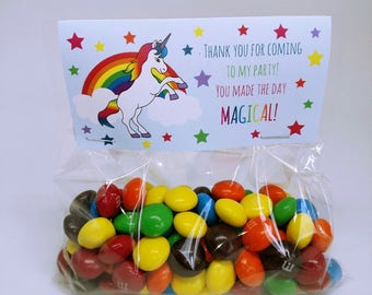 Unicorn Rainbow Treat Bag Tags (24 count) - Favor tags, party decorations, thank you tags