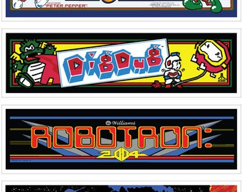 Arcade Machine Wall Marquees - 6 Pack (Set 2)