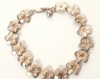 "Plumeria Hawaiian 1/2"" Flower Bracelet 925 Sterling Silver Gold Wash gw15-990"