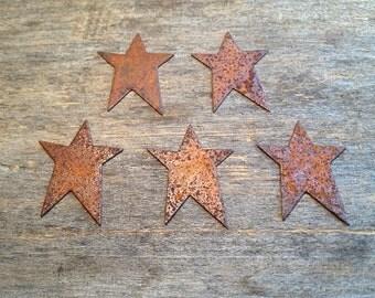 "1-1/4"" Rusty Tin Star. Package of five (5). Tin Stars. Rusty Tin. Metal Stars. Rusty Metal Stars. Rusty Stars. Rusty Tin Embellishments."