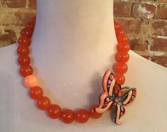 Orange Agate Statement Necklace w/Vintage Rhinestone Butterfly Brooch