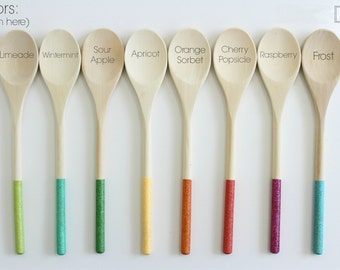 "Glitter Dipped 12"" Wooden Spoon - Favors - Housewares - Mix & Match - Custom Order Available - 5 Spoons/Pack"
